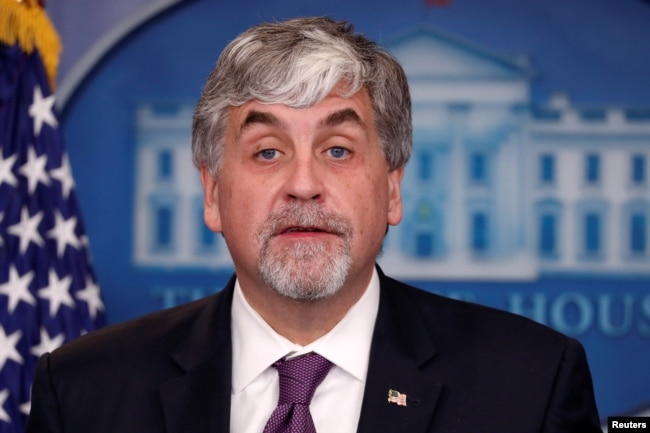 FILE - U.S. acting Secretary of Health and Human Services (HHS) Eric Hargan addresses reporters during the daily news briefing at the White House in Washington, Nov. 30, 2017.