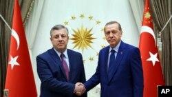 土耳其总统埃尔多安(右)与格鲁吉亚总理克维里卡什维利会面(2016年7月19日)