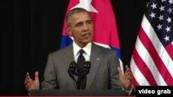 Presiden AS Barack Obama memberikan pidato di Gran Teatre de la Habana, di Havana, Kuba, Selasa (22/3).