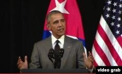 U.S. President Barack Obama begins a national address to Cuba from the Gran Teatre de la Habana, in Havana, Cuba, March 22, 2016.