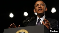 24일 미국 네바다 주에서 열린 해외참전 용사회 총회에서 연설하는 바락 오바마 미국 대통령.