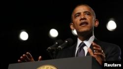 Presiden AS Barack Obama memberikan pidato dalam konvensi veteran di Reno, Nevada, Senin (23/7).