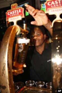 South African bars sell millions of liters of Castle beer every year