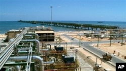 An undated handout file picture made available by the Italian oil and gas company, Eni, shows the new Eni gas compression plant on the shore of Mellitah, Libya (file photo)