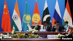 An Indian delegation attend a plenary meeting of the Shanghai Cooperation Organization (SCO) security secretary summit in Beijing, China, May 22, 2018.