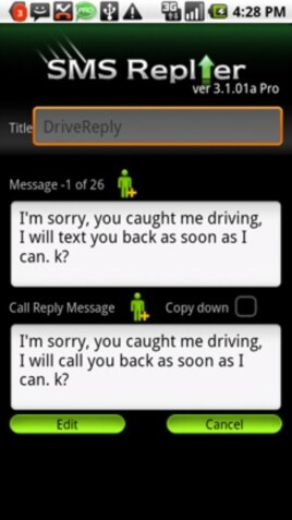 Example of an auto-reply message using Iconosys Inc.'s SMS Replier™ Smartphone app.