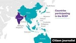 ແຜນທີ່ສະແດງໃຫ້ເຫັນ ບັນດາປະເທດທີ່ລົງນາມໃນຂໍ້ຕົກລົງການເປັນຮຸ້ນສ່ວນທາງເສດຖະກິດຢ່າງຮອບດ້ານໃນພາກພື້ນ (Regional Comprehensive Economic Partnership – RCEP)