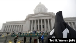 Inflatable orca at the Washington Legislature at the Capitol in Olympia, Wash
