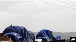 아프가니스탄으로 가기위해 파키스탄 국경을 넘는 나토 차량