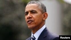 美国总统奥巴马在白宫发表演讲