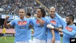 Para pemain tim Napoli dalam sebuah pertandingan. (Foto: Dok)