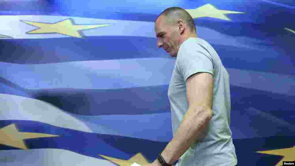 Le ministre grec des Finances, Yanis Varoufakis, avant sa démission