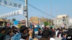 乌坎村民和学生12月17日和平集会