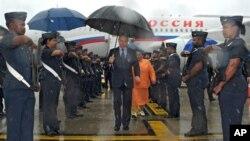 26일 브릭스 정상회담 참석을 위해 남아공 두르반에 도착한 푸틴 러시아 대통령.