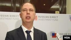 俄罗斯直接投资基金会领导人德米特里耶夫几年在莫斯科的一次俄日投资论坛会议上。(美国之音白桦拍摄)