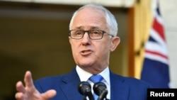 លោក Malcolm Turnbull នាយករដ្ឋមន្ត្រីអូស្ត្រាលីថ្លែងនៅក្នុងសន្និសីទកាសែតមួយនៅវិមានសភាអូស្ត្រាលី កាលពីថ្ងៃទី៣០ ខែវិច្ឆិកា ឆ្នាំ២០១៧។