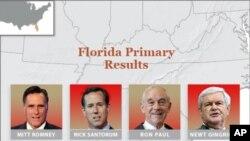 ບັນດາຜູ້ສະມັກຮັບເລືອກຕັ້ງຂັ້ນຕົ້ນຂອງພັກ Republican ໃນລັດຟລໍຣີດາ. ວັນທີ 1 ກຸມພາ 2012.