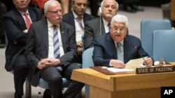 Palestinian President Mahmoud Abbas speaks during a Security Council meeting on the situation in Palestine, Feb. 20, 2018 at United Nations headquarters.