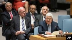 El presidente palestino Mahmoud Abbas habla durante una reunión del Consejo de Seguridad sobre la situación en Palestina, el martes 20 de febrero de 2018 en la sede de las Naciones Unidas.
