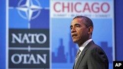 21일 나토 정상회의에서 연설하는 바락 오바마 미 대통령.