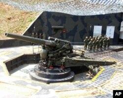 在金门雷霆阵地的美造M1式240公厘榴炮