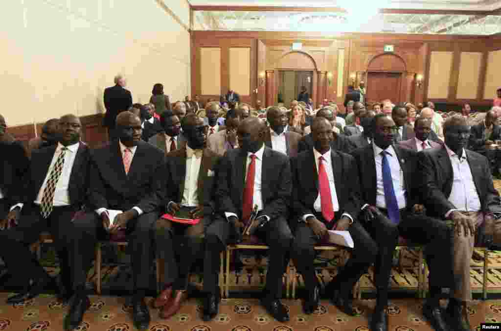 The battle for Malakal came as representatives for both sides in the South Sudan conflict hold peace talks in Addis Ababa. Members of South Sudan rebel delegation are shown at the opening ceremony of the talks on Jan. 4, 2014.