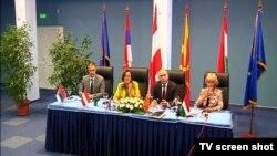 Ministri unutrašnjih poslova Srbije, Austrije, Makedonije i Mađarske (s leva), Ohrid 4. septembar 2015.