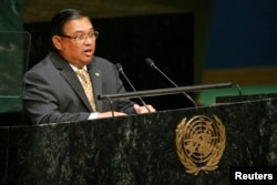 Myanmar's Minister for Foreign Affairs Wunna Maung Lwin addresses the 69th United Nations General Assembly at the U.N. headquarters in New York, Sept. 29, 2014.