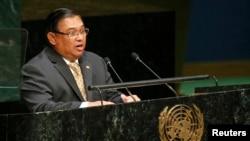 缅甸外交部长温纳貌伦于2014年9月29日在联合国大会第69届会议上讲话(资料照片)