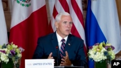 Vice President Mike Pence speaks during the second Conference for Prosperity and Security in Central America meeting at State Department, Oct. 11, 2018, in Washington.