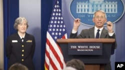 FILE - NIAID Director Dr. Anthony Fauci (R), accompanied by Dr. Anne Schuchat, Principal Deputy Director of the CDC, addresses the media in the White House Briefing Room in Washington, Feb. 8, 2016.