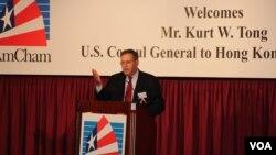 美國駐港總領事唐偉康在香港美國商會發表演說