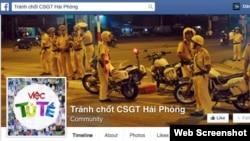 Screenshot của trang Facebook Tránh chốt CSGT Hải Phòng. Hiện trang này không còn truy cập được nữa.