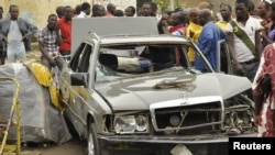 尼日利亞北部薩蓬加里地區的一家酒吧附近的爆炸 現場