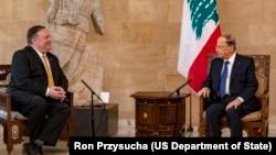 ABD Dışişleri Bakanı Pompeo, Lübnan Cumhurbaşkanı Michel Aoun'la Mart ayında görüştü