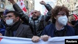 2021年2月26日格鲁吉亚反对派支持者举行集会