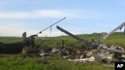 Remains of a downed Azerbaijani forces helicopter in Nagorno-Karabakh