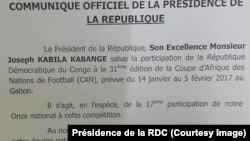 Communiqué officiel de la présidence de la RDC, 14 janvier 2017.