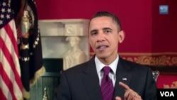 Presiden AS Barack Obama menyampaikan pidato mingguannya di Gedung Putih (22/1).