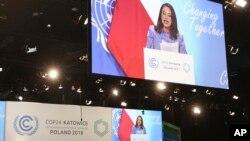 La presidenta de la Asamblea General de las Naciones Unidas, María Fernanda Espinosa Garces, habla durante la apertura de la Conferencia de las Naciones Unidas sobre el Cambio Climático COP24 2018 en Katowice, Polonia, el lunes 3 de diciembre de 2018.
