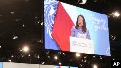Predsednica GS UN Marija Espnioza obraća se učesnicima konferencije u Katovicama