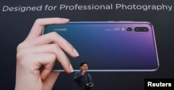 Richard Yu, CEO of the Huawei Consumer Business Group, attends the launching of the new generation of its smartphone, Huawei P20, in Paris, March 27, 2018.