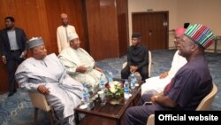 Gwamnan Jahar Borno Kashim Shettima da na Bauchi Muhammed Abdullahi Abubakar da Sanata Rabiu Musa Kwankwaso da gwamnan Benue Samuel Ortom, a wata ziyara da suka kaiwa mataimakin shugaban kasa Prof. Yemi Osinbajo