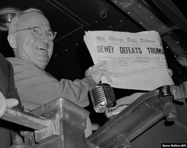 The Washington Post wasn't the only newspaper that had to eat crow. Here, Truman U.S. President Harry S. Truman holds up an Election Day edition of the Chicago Daily Tribune, Nov. 1948.