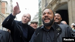 (File) French humorist Dieudonne M'bala M'bala at the French Interior Ministry in Paris, France on May 13, 2009.