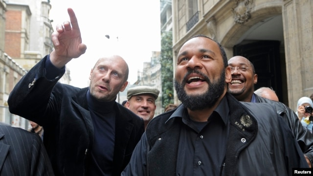 FILE - French comedian Dieudonne M'bala M'bala at the French Interior Ministry in Paris, May 13, 2009.
