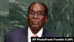 Le président Robert Mugabe du Zimbabwe, lors de l'Assemblée générale des Nations unies, 21 septembre 2017.