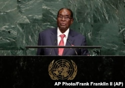 Zimbabwe's President Robert Mugabe addresses the United Nations General Assembly, Thursday, Sept. 21, 2017, at the U.N.