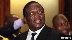 Menteri Kehakiman Emmerson Mnangagwa, dianggap sebagai calon kuat pengganti Presiden Zimbabwe, diangkat sebagai Wapres Pertama, di Harare hari Rabu (10/12).