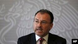 El ministro de Relaciones Exteriores de México, Luis Videgaray, habló en una conferencia de prensa en Ciudad de México el miércoles, 19 de junio de 2018.